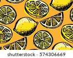 hand drawn pattern with lemon... | Shutterstock .eps vector #574306669