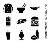 set of 9 fastfood filled icons... | Shutterstock .eps vector #574307770