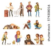 Stock vector set of homeless people including adults and kids begging money and needing help isolated vector 574308016
