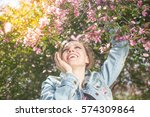 young happy woman happy smiling ... | Shutterstock . vector #574309864
