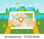 hiker reading digital map on... | Shutterstock .eps vector #574313056