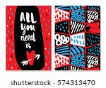 all you need is love. set of 2... | Shutterstock .eps vector #574313470