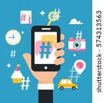 holding smart phone with... | Shutterstock .eps vector #574313563