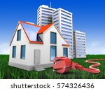 3d illustration of modern house ... | Shutterstock . vector #574326436