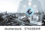 double exposure of businessman...   Shutterstock . vector #574338349