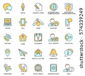 icons contact us. methods of... | Shutterstock .eps vector #574339249