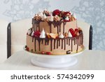 Festive  Cake With Fruit With...