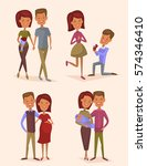 happy young family couple set... | Shutterstock .eps vector #574346410