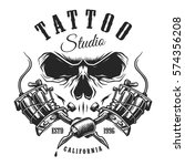 tattoo studio emblem with... | Shutterstock . vector #574356208