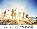 crowd of people or friends runs ... | Shutterstock . vector #574356844