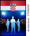 croatia flag with business team ... | Shutterstock .eps vector #57436033