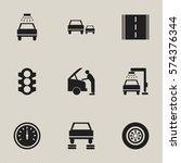 set of 9 editable car icons.... | Shutterstock . vector #574376344