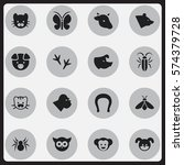 set of 16 editable zoology...