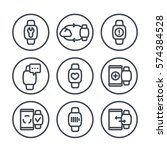 smart watch line icons in...