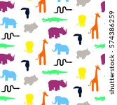 Stock vector cute zoo animal silhouettes toddler seamless pattern vector colorful giraffe lion rhino 574386259