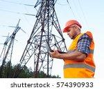 electrical engineer working.... | Shutterstock . vector #574390933