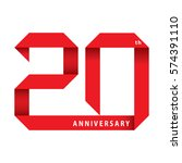 20 years anniversary ribbon ... | Shutterstock .eps vector #574391110