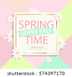 spring sale geometric... | Shutterstock .eps vector #574397170