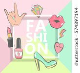 template for fashion with... | Shutterstock .eps vector #574397194