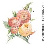 watercolor flowers bouquet.... | Shutterstock . vector #574400704