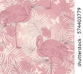 seamless tropical pattern with... | Shutterstock .eps vector #574403779