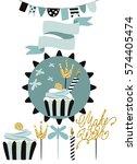 celebratory cake with set of... | Shutterstock .eps vector #574405474