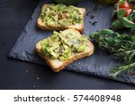 avocado on toast with chili... | Shutterstock . vector #574408948