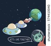 happy cute alien offers us live ... | Shutterstock .eps vector #574410040