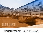 travel postcard with view of... | Shutterstock . vector #574413664