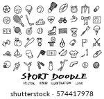 doodle line sports  vector... | Shutterstock .eps vector #574417978