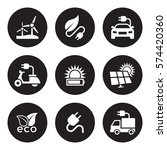 solar energy icons set. white... | Shutterstock .eps vector #574420360