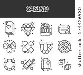 set of casino icons in flat...