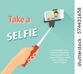 selfie poster with couple... | Shutterstock .eps vector #574431658