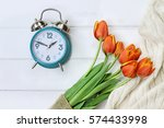 alarm clock with a beautiful... | Shutterstock . vector #574433998