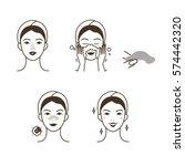 girl take care of her face.... | Shutterstock . vector #574442320