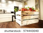 vegetables on table in kitchen  | Shutterstock . vector #574443040