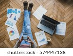 home work space concept | Shutterstock . vector #574447138