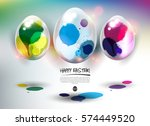 happy easter greeting card.... | Shutterstock .eps vector #574449520
