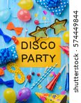 disco party text on a yellow...   Shutterstock . vector #574449844