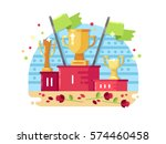 trophies on podium | Shutterstock .eps vector #574460458