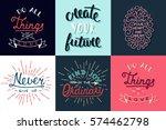 set of motivational and... | Shutterstock .eps vector #574462798