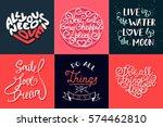 set of romantic vector hand... | Shutterstock .eps vector #574462810