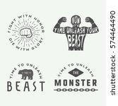 set of vintage motivational and ... | Shutterstock .eps vector #574464490