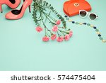 spring fashion design girl... | Shutterstock . vector #574475404