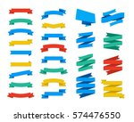 set of vector flat ribbons and... | Shutterstock .eps vector #574476550