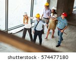 group of engineers and experts... | Shutterstock . vector #574477180