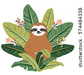 cute baby sloth sitting among...   Shutterstock .eps vector #574484338