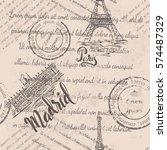 faded text  stamps  eiffel... | Shutterstock .eps vector #574487329