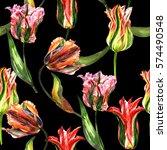 wildflower tulip flower pattern ... | Shutterstock . vector #574490548