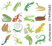 Lizard Type Animals Icons Set....
